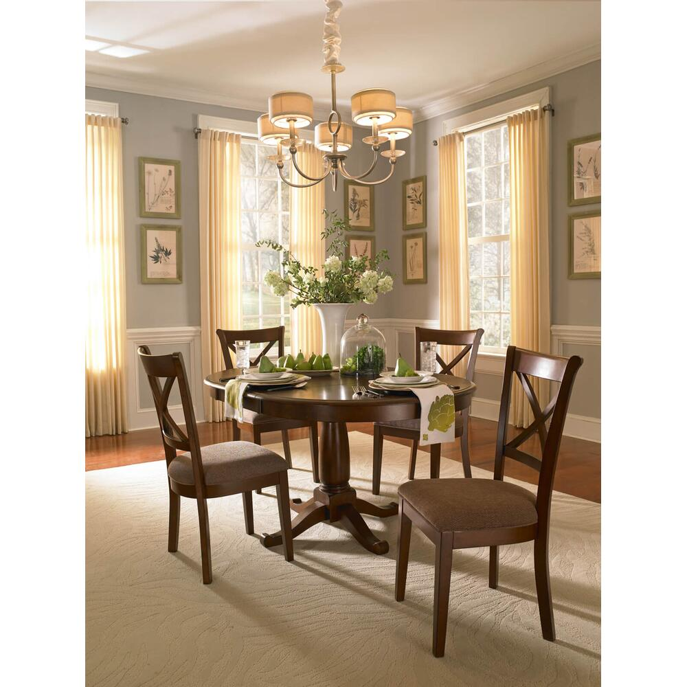 De Soto Pedestal Table& 4 X-Back Side Chairs W/ Uph Seat