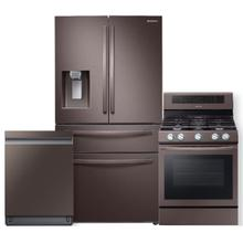 See Details - SAMSUNG 22 cu. ft. Food Showcase Counter Depth 4-Door French Door Refrigerator- 3 Piece Package in Tuscan Stainless Steel