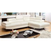 FOA Sectional, Kemina Collection, Contemporary Style, White Finish