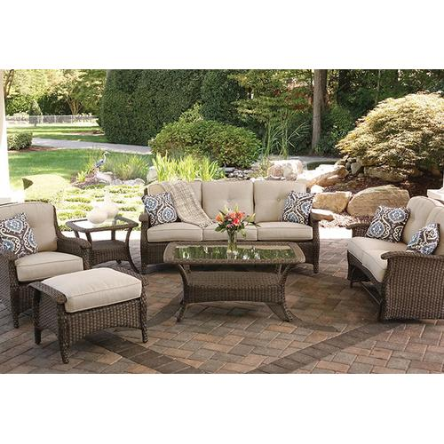 Agio Fairfield Square Woven Glass Top Patio End Table