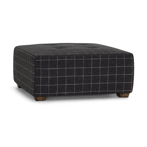 Square Ottoman with Button Tufts in Savane Ebony Fabric