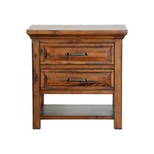 See Details - RUSTIC NIGHT STAND WITH 2 FULLY EXTENDABLE DRAWERS