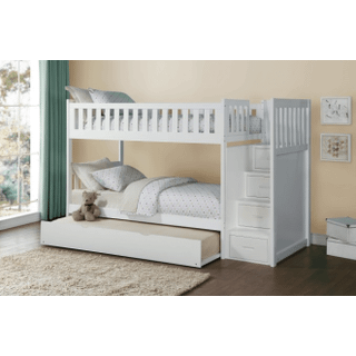 Galen Bunk Bed Twin on Twin with Reversible Step Storage and Twin Trundle