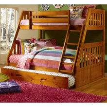 View Product - Twin Over Full Bunk Bed with Twin Trundle - Honey