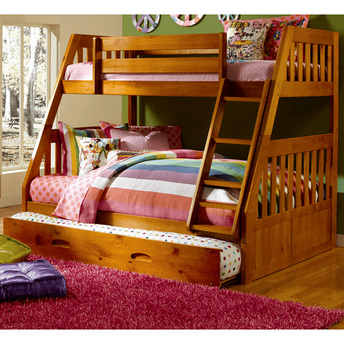 Twin Over Full Bunk Bed with Twin Trundle - Honey