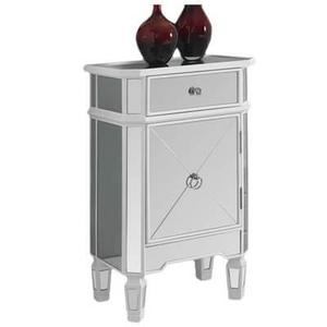 """ACCENT CHEST - 29""""H / SATIN WHITE WITH MIRROR"""