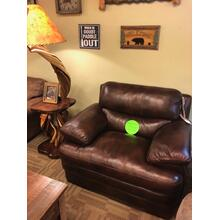 Top-Grain Leather Chair & 1/2