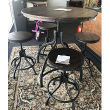 Damaged Table and 4 Barstools
