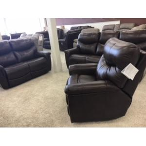 Stanton Power Reclining Sofa and Loveseat Set with Adjustable Headrests and Adjustable Lumbar in Alfresco Palazzo (leather)