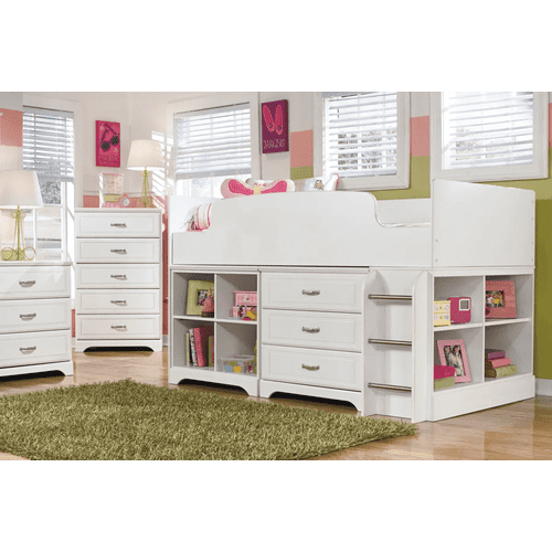 Lulu -7 Pc.- White - Dresser, Mirror, Chest & Twin Loft Bed with Bin Storage and Bookcase