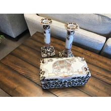 3.PC Elephant Trinket Box/W 2 Candle Holders