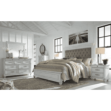 Kanwyn - Whitewash - 7 Pc. - Dresser, Mirror, Chest, Nightstand & California King Upholstered Bed