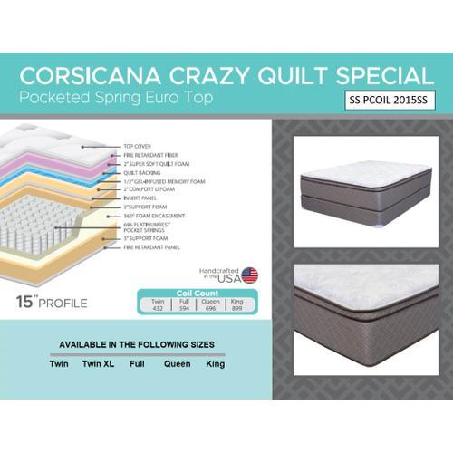 """Corsicana - Crazy Quilt 15"""" - Euro Top - Medium"""
