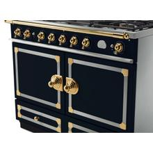 CornuFe 110 Dual Fuel Range -  Dark Navy Blue with Stainless Steel and Polished Brass Trim