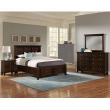 See Details - King Merlot 4 PC Bedroom Set - Panel Bed with Storage Footboard