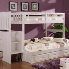 White Stair Stepper Twin over Full Bunk Bed