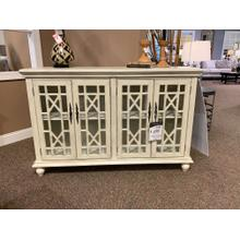 Cream Four Door Media Credenza with Glass