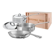 Mauviel M'Cook Stainless Steel Cookware Set, 5 Pieces, Cast Stainless Steel Handles, Wooden Crate