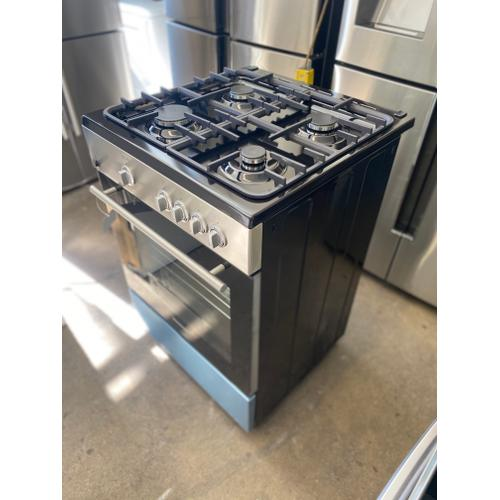 OPEN BOX, With mild cosmetic damages(on the sides) 24'' Gas Range, 4 Burners, Cast Iron, Continuous Support, Stainless Steel Color,