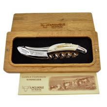 Laguiole en Aubrac Stainless Steel Matte Sommerlier Waiters Corkscrew with Bone Crust