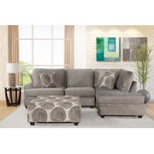 FLAIR 22414P 4-Piece Champion Grey 4-Piece Sectional Sofa, Swivel Chair & Ottoman Group