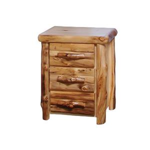 3 Drawer Nightstand Log Front Natural Panel Natural Log