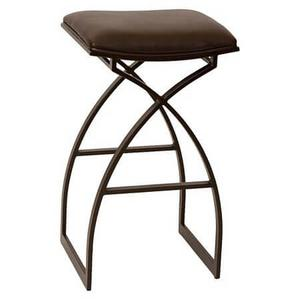 Backless, non-swivel barstool. Available in 26-inch counter height. Durable brown PVC seat cushion sits atop a fully welded steel frame.