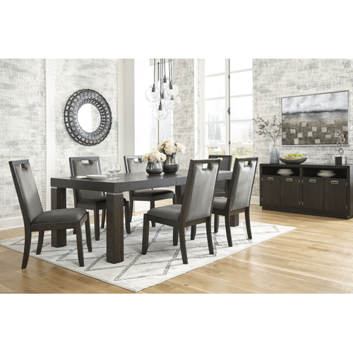 Hyndell - Dark Brown - 7 Pc. - Rectangular Extension Table & 6 Upholstered Side Chairs