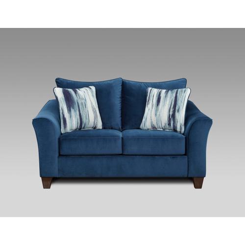 7703-VELN  Sofa and Loveseat - Velour Navy