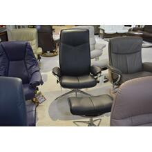 STRESSLESS CITY MEDIUM ARM CHAIR, STAR BASE, CHROME, HIGHBACK, LEATHER, RECLINE, SWIVEL, ERGONOMICALLY CORRECT, W/OTTOMAN.
