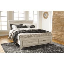 Bellaby- Whitewash- King Panel Bed with 2 Storage Drawers