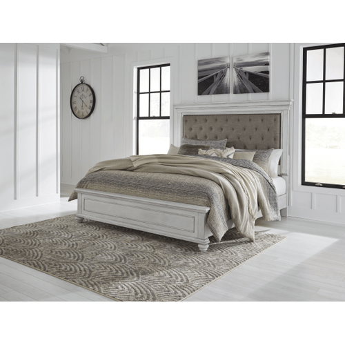 Kanwyn - Whitewash  Queen Upholstered Bed