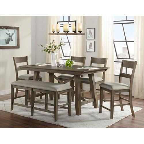 Hillcrest, Counter Height 6 Pc Dinette Set Brown and Grey Mixed Wood By Vilo Home, Model 4300