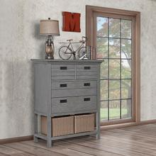 Evolur Waverly Tall Chest with Baskets- Rustic Grey