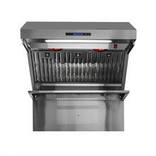 "36"" Range Hood With Red Light Warmers / Shelf / Back Splash Hybrid Filters, All Stainless Steel"