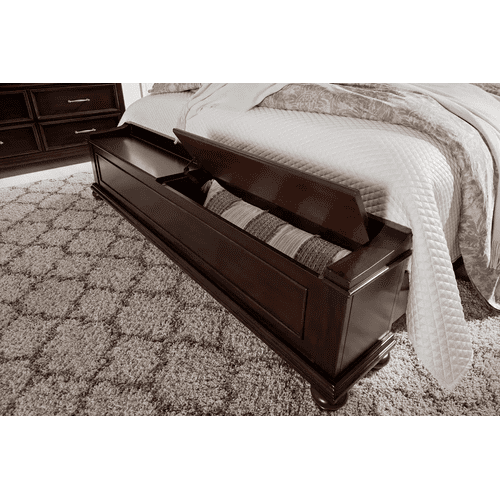 Brynhurst - Dark Brown - Queen Upholstered Bed with Storage Footboard