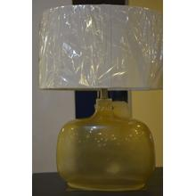 Yellowed bubble glass table lamp.