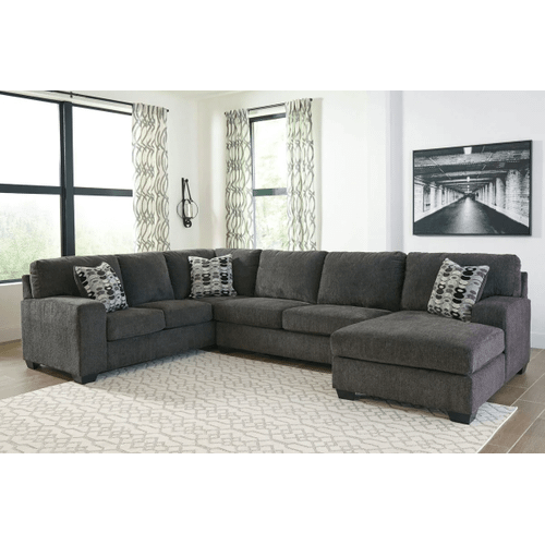 Ballinasloe - Smoke - 3-Piece Sectional with Right Facing Chaise