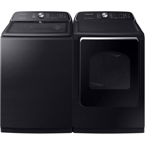 Samsung 5.4 cu. ft. Fingerprint Resistant Black Stainless Top Load Washing Machine with Active WaterJet and 7.4 cu. ft. Electric Dryer with Steam in Black Stainless, ENERGY STAR