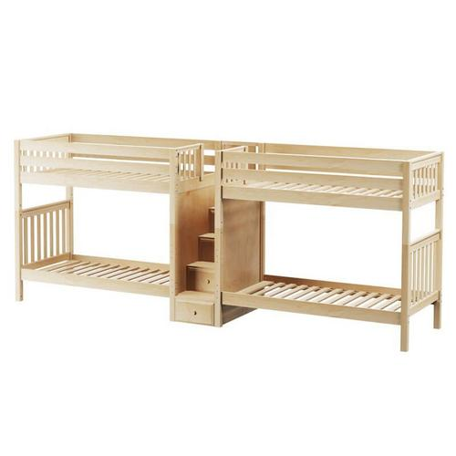 Maxtrix - Quadruple Bunk Bed with Staircase in Middle : Twin : Slat In Natural Finish