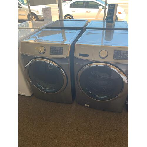 Product Image - Refurbished Grey Electric Samsung Washer Dryer Set. Please call store if you would like additional pictures. This set carries our 6 month warranty, MANUFACTURER WARRANTY AND REBATES ARE NOT VALID (Sold only as a set)