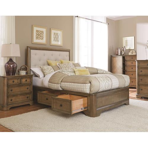 Whittier Wood - RGB Stonewood CalKing Manor Upholstered Storage Bed Rustic Glazed Brown Finish