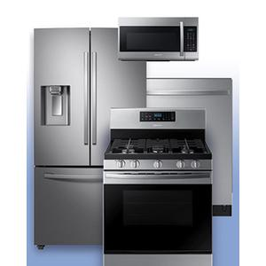SAMSUNG - Get a Visa Reward Card for 10% off the purchase price of any Samsung 4-piece kitchen package. See Stainless Steel French Door Refrigerator and Gas Range Example.
