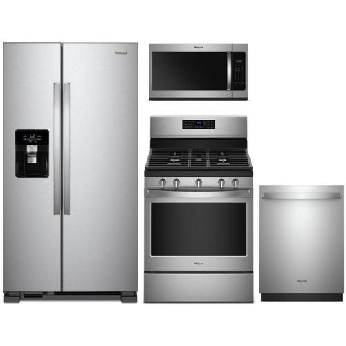 Whirlpool Fingerprint Stainless Steel Package (Refrigerator, Gas Range, Dishwasher, Microhood)