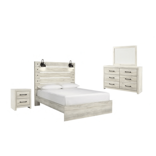 Ashley Furniture - Cambeck Queen Panel Bed With Mirrored Dresser and Nightstand