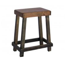 Rustic pine wood saddle stool. Various custom finishes are available. Handcrafted in the USA.