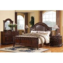 King Leather Panel Bed