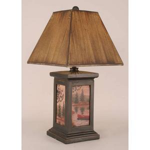 Square Pot w/ Canoe Scene Lamp