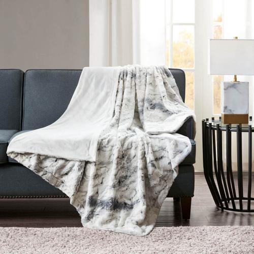 Sachi Oversized Grey Faux Fur Throw