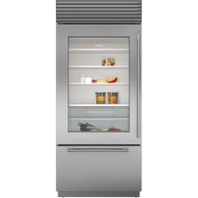 """See Details - 36"""" Classic Over-and-Under Refrigerator/Freezer with Glass Door"""
